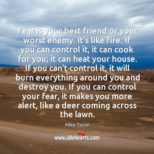 Image, Fear is your best friend or your worst enemy. It's like fire.