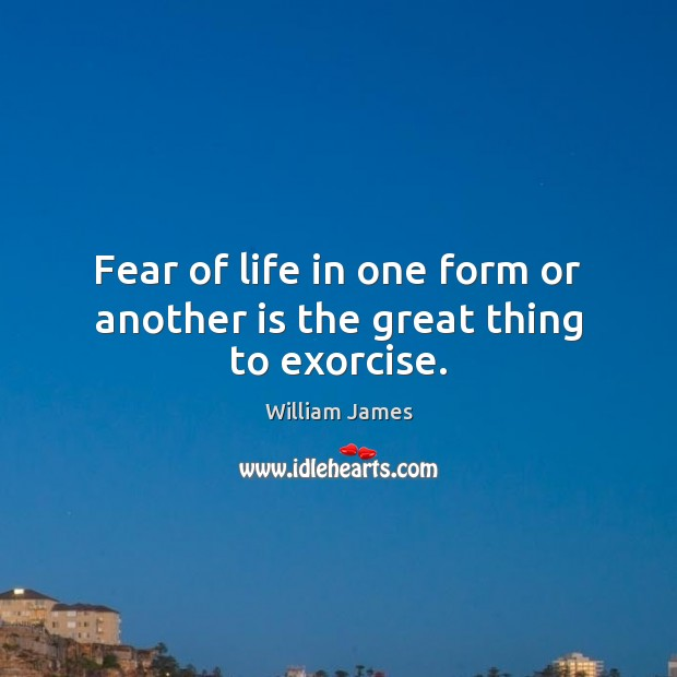 Fear of life in one form or another is the great thing to exorcise. William James Picture Quote