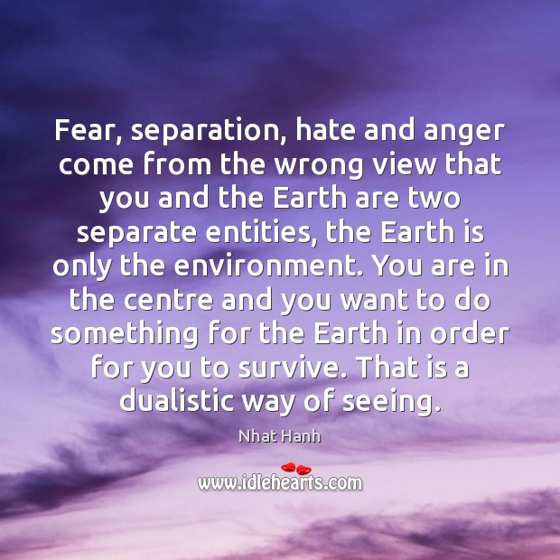 Fear, separation, hate and anger come from the wrong view that you Image