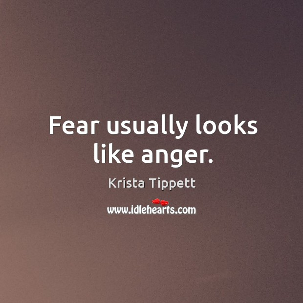 Fear usually looks like anger. Krista Tippett Picture Quote