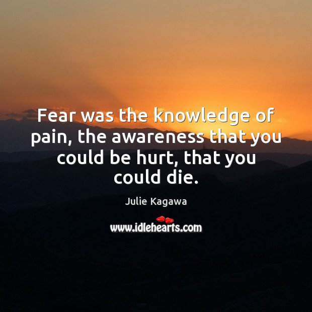 Fear was the knowledge of pain, the awareness that you could be hurt, that you could die. Image