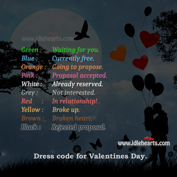 Valentines Day Dress Color Code Valentine's Day Quotes Image