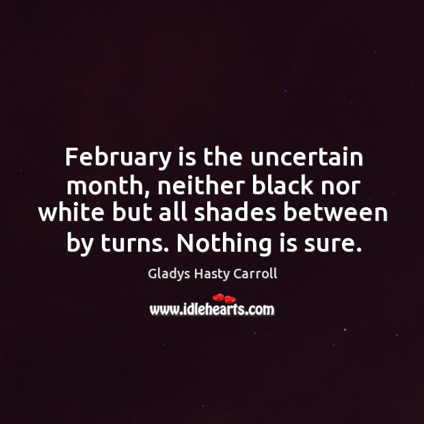 February is the uncertain month, neither black nor white but all shades Image