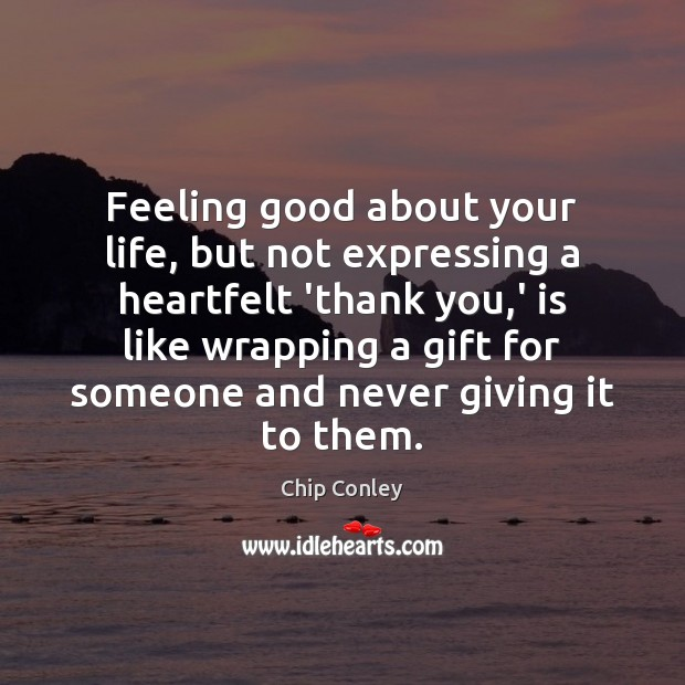 Image, Feeling good about your life, but not expressing a heartfelt 'thank you,