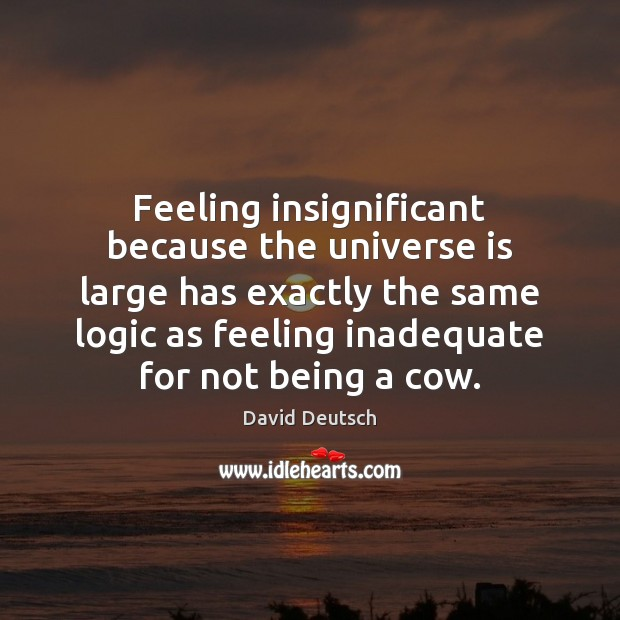 Feeling insignificant because the universe is large has exactly the same logic David Deutsch Picture Quote