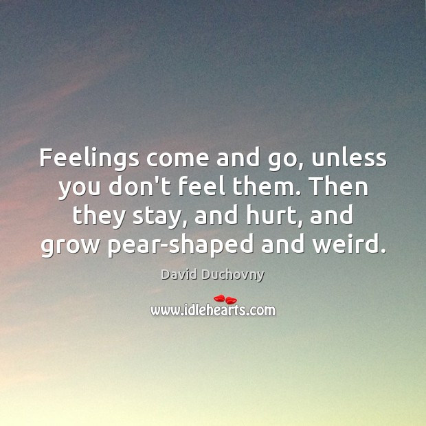 Feelings come and go, unless you don't feel them. Then they stay, David Duchovny Picture Quote