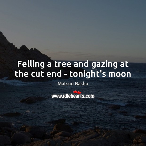 Felling a tree and gazing at the cut end – tonight's moon Matsuo Basho Picture Quote