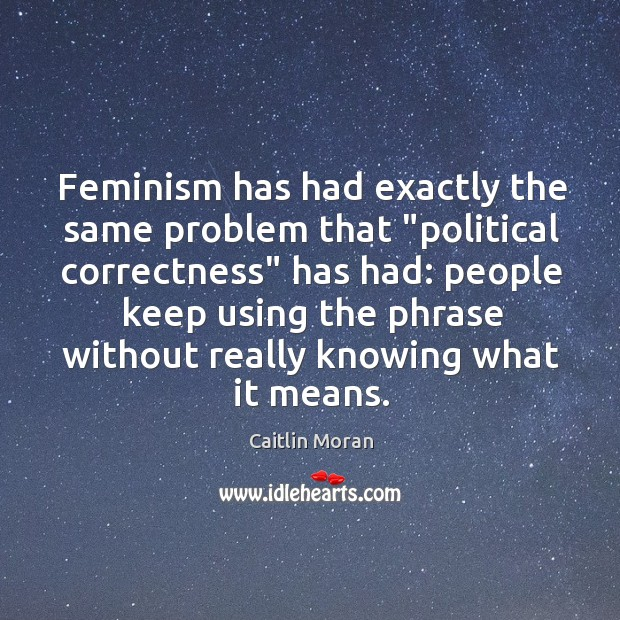 "Image, Feminism has had exactly the same problem that ""political correctness"" has had:"