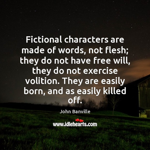 Fictional characters are made of words, not flesh; they do not have John Banville Picture Quote