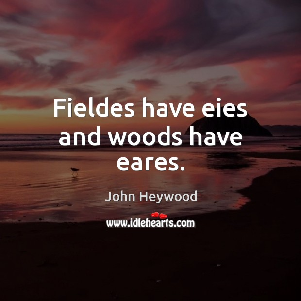 Fieldes have eies and woods have eares. John Heywood Picture Quote