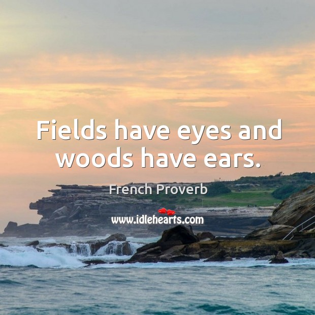 Image, Fields have eyes and woods have ears.
