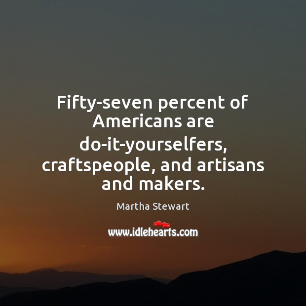 Fifty-seven percent of Americans are do-it-yourselfers, craftspeople, and artisans and makers. Martha Stewart Picture Quote