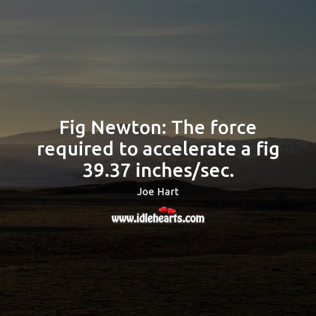Fig Newton: The force required to accelerate a fig 39.37 inches/sec. Image