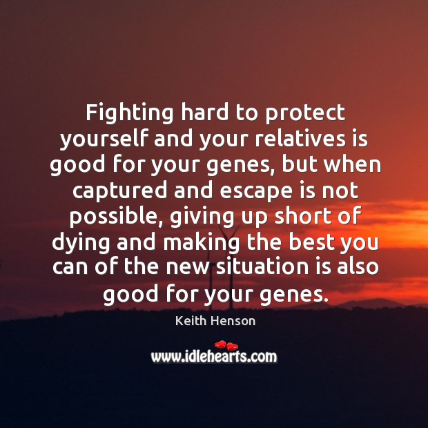 Fighting hard to protect yourself and your relatives is good for your genes Image