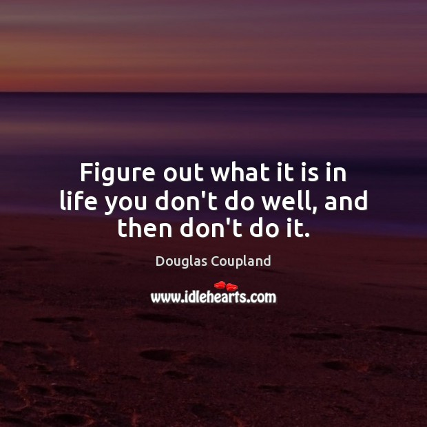 Image, Figure out what it is in life you don't do well, and then don't do it.