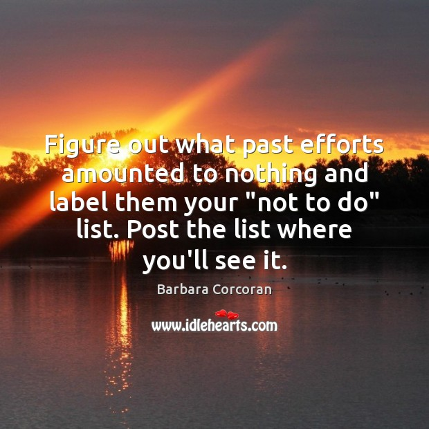 Image, Figure out what past efforts amounted to nothing and label them your ""