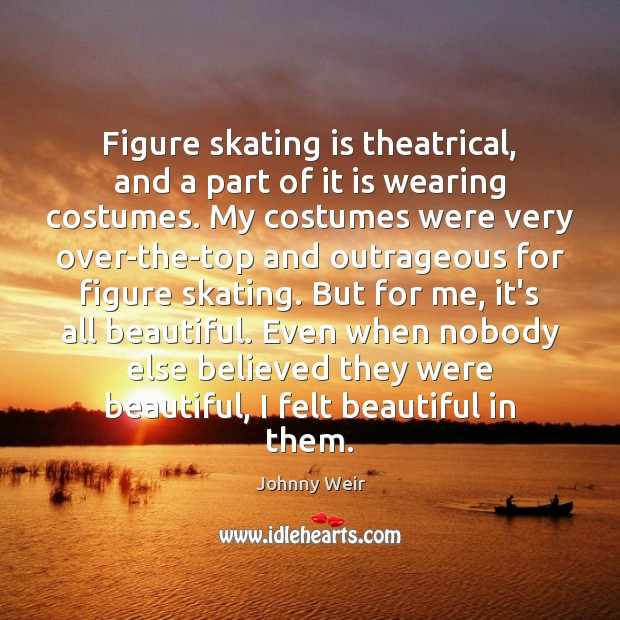 Figure skating is theatrical, and a part of it is wearing costumes. Image