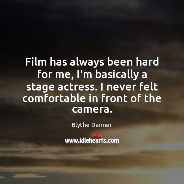 Film has always been hard for me, I'm basically a stage actress. Blythe Danner Picture Quote