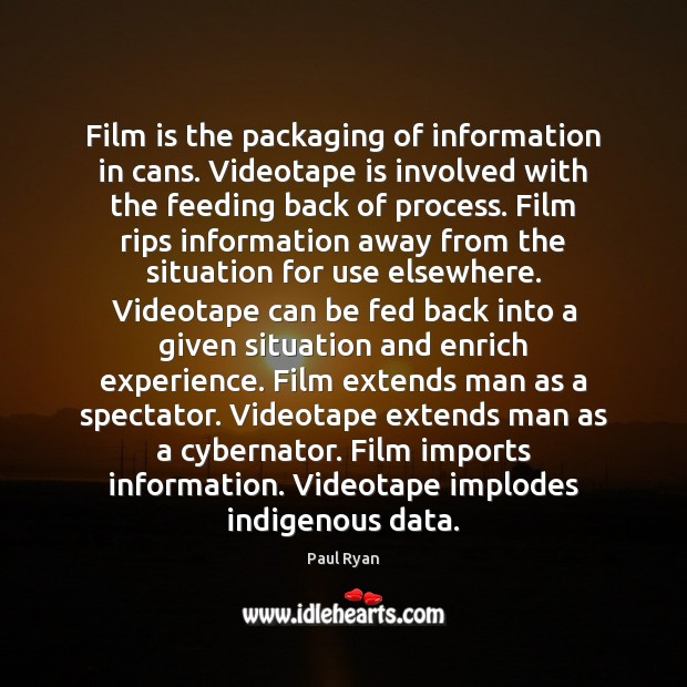 Image, Film is the packaging of information in cans. Videotape is involved with