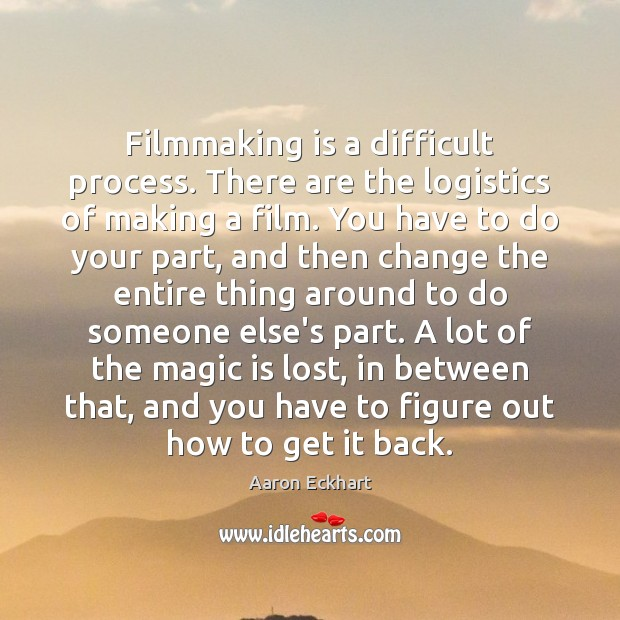 Filmmaking is a difficult process. There are the logistics of making a Image