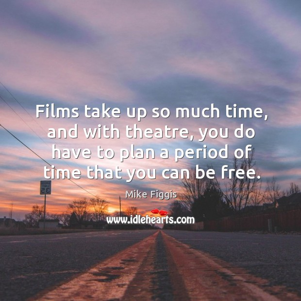 Films take up so much time, and with theatre, you do have to plan a period of time that you can be free. Mike Figgis Picture Quote