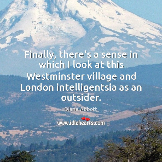 Finally, there's a sense in which I look at this Westminster village Diane Abbott Picture Quote