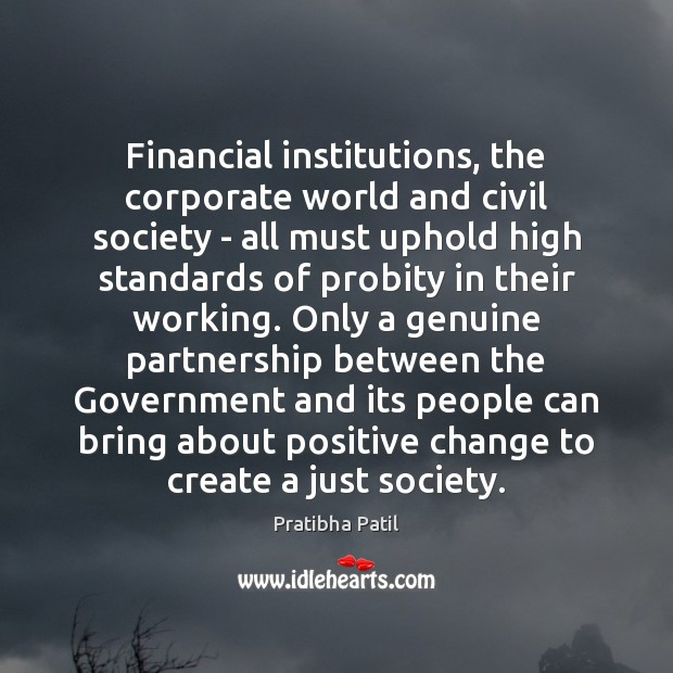 Image, Financial institutions, the corporate world and civil society – all must uphold