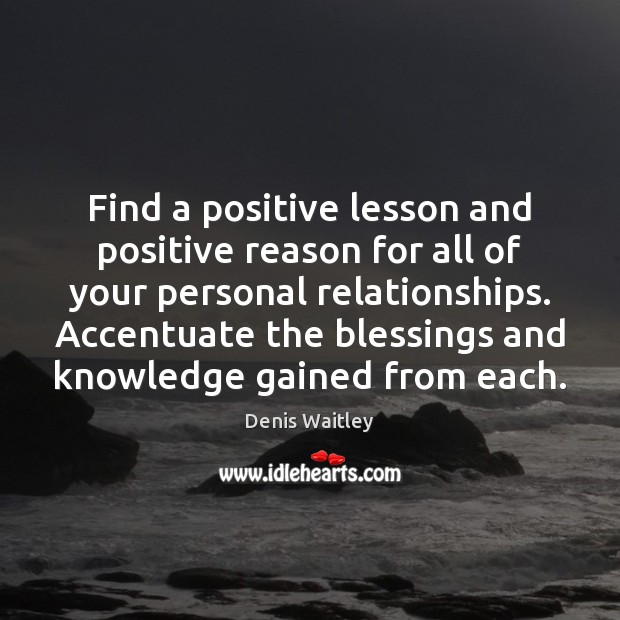Find a positive lesson and positive reason for all of your personal Denis Waitley Picture Quote