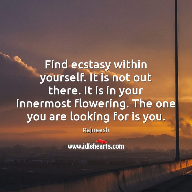 Image, Find ecstasy within yourself. It is not out there. It is in