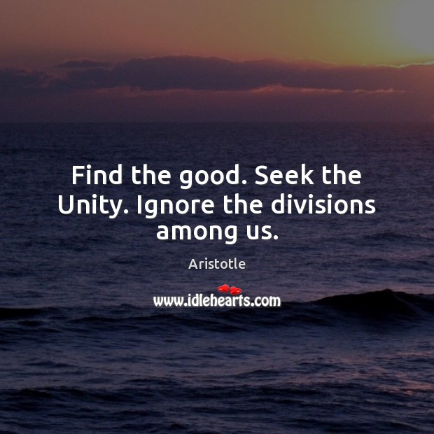 Image, Find the good. Seek the Unity. Ignore the divisions among us.