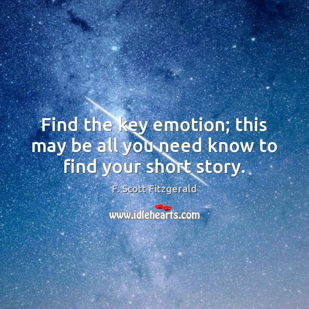Image, Find the key emotion; this may be all you need know to find your short story.