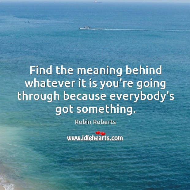 Find the meaning behind whatever it is you're going through because everybody's Image