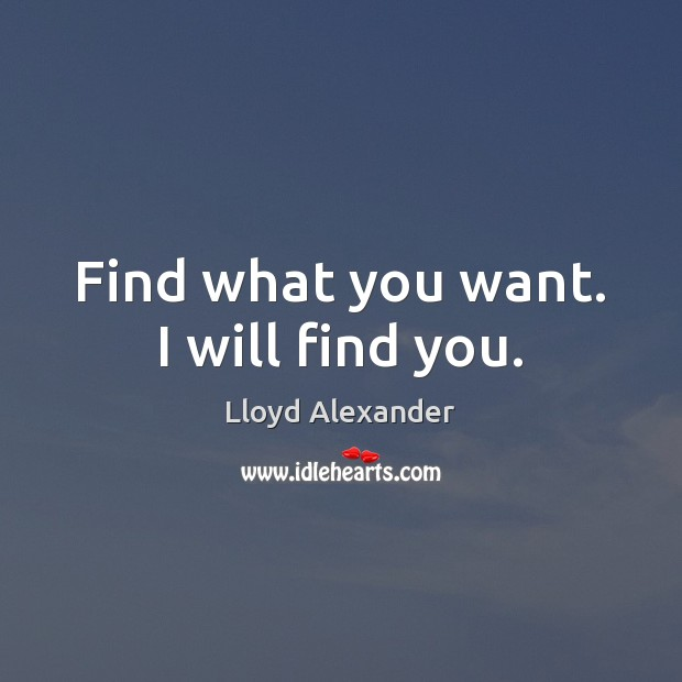 Find what you want. I will find you. Lloyd Alexander Picture Quote