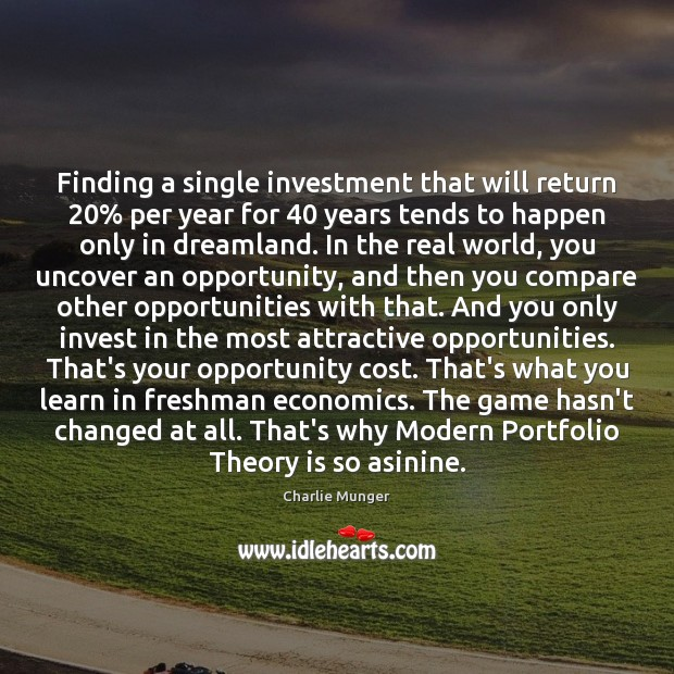 Image, Finding a single investment that will return 20% per year for 40 years tends