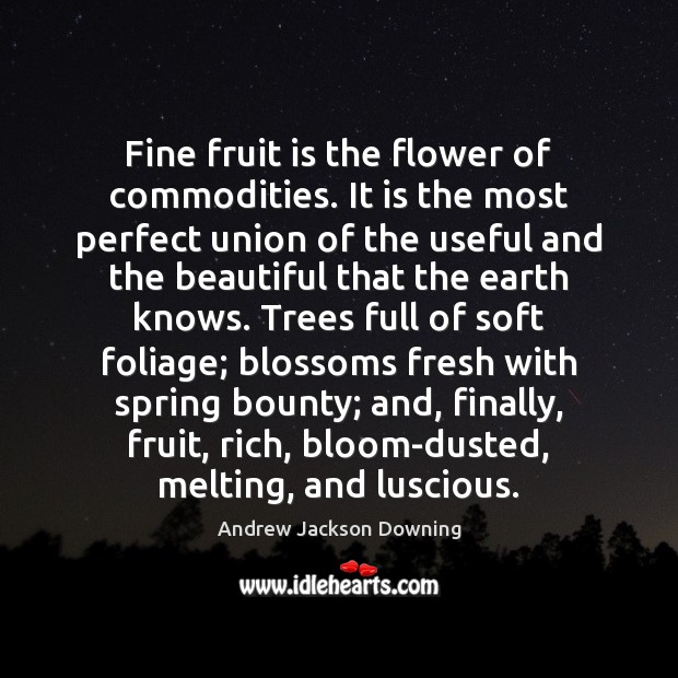 Image, Fine fruit is the flower of commodities. It is the most perfect