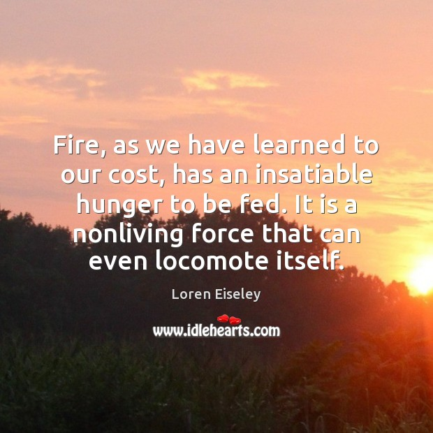 Fire, as we have learned to our cost, has an insatiable hunger Loren Eiseley Picture Quote