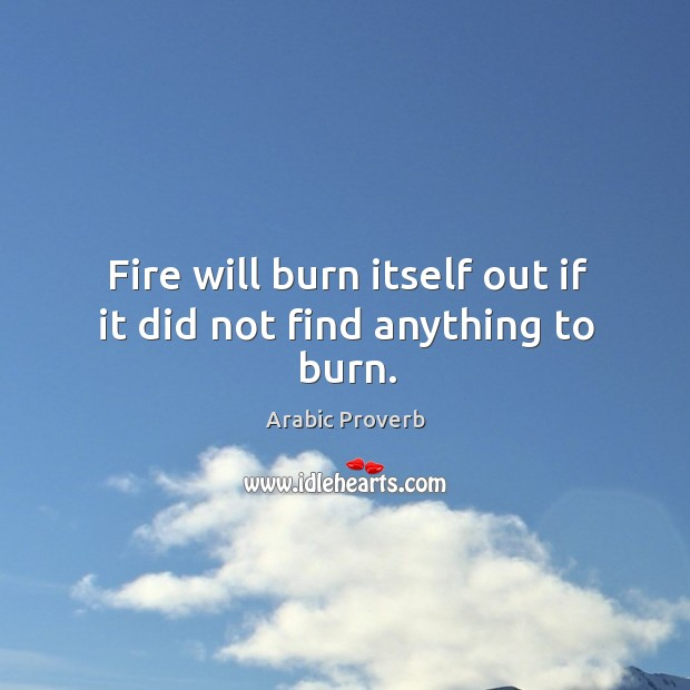 Image, Fire will burn itself out if it did not find anything to burn.