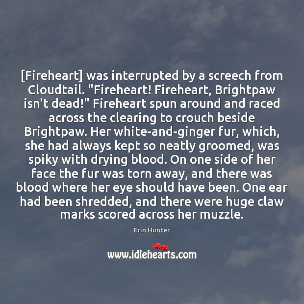 "[Fireheart] was interrupted by a screech from Cloudtail. ""Fireheart! Fireheart, Brightpaw isn't Erin Hunter Picture Quote"