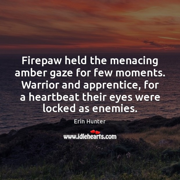 Firepaw held the menacing amber gaze for few moments. Warrior and apprentice, Image