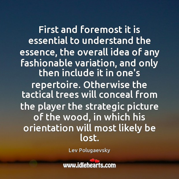 First and foremost it is essential to understand the essence, the overall Image