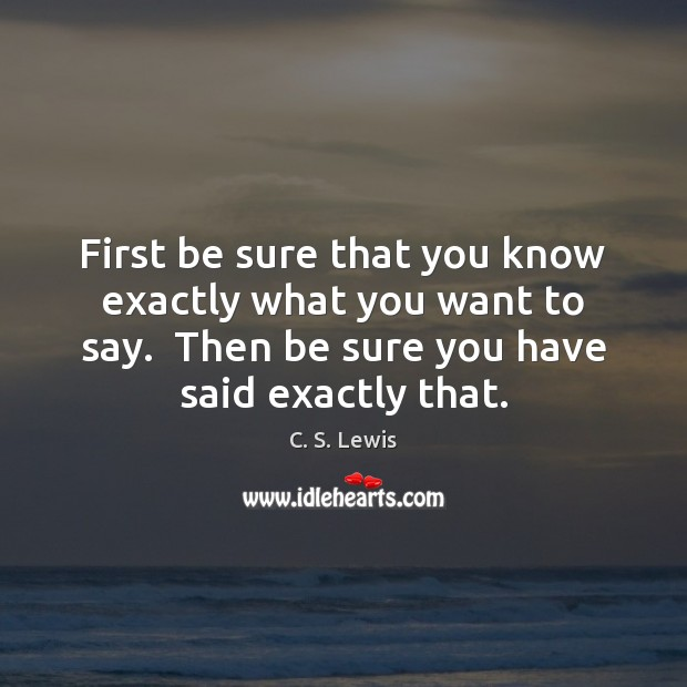 First be sure that you know exactly what you want to say. Image