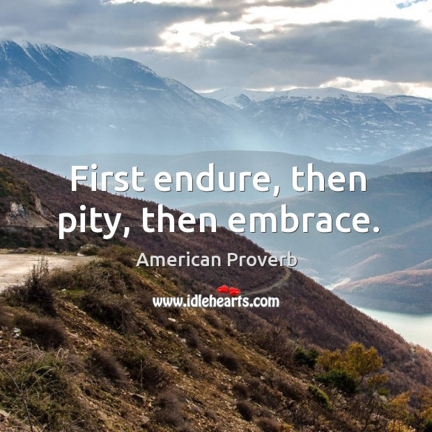 First endure, then pity, then embrace. Image