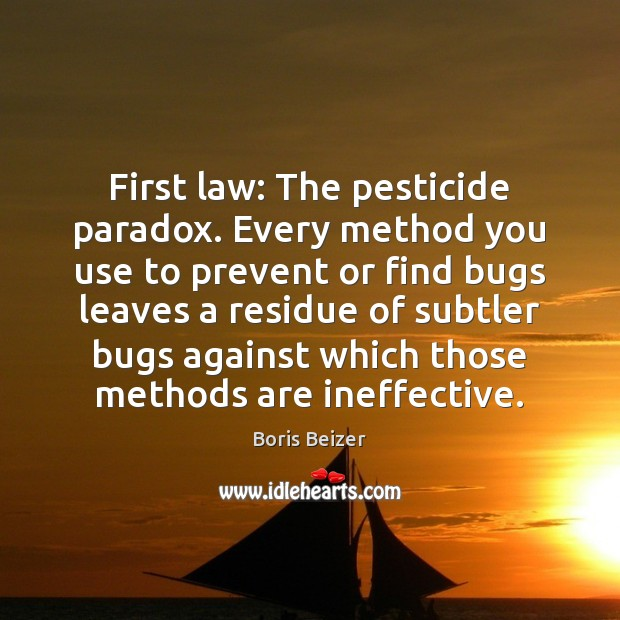 Image, First law: The pesticide paradox. Every method you use to prevent or