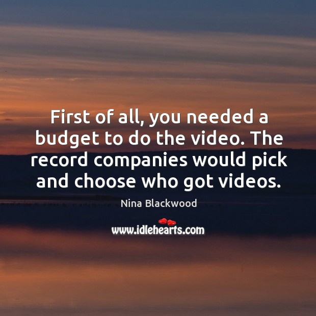 Image, First of all, you needed a budget to do the video. The record companies would pick and choose who got videos.