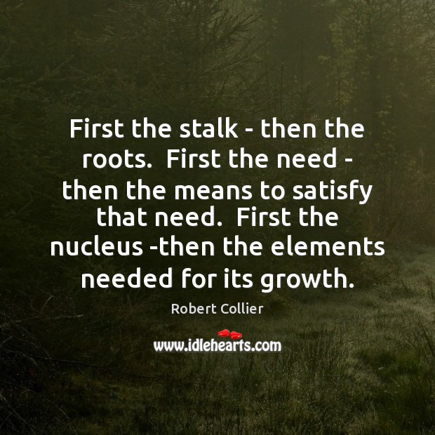 First the stalk – then the roots.  First the need – then Robert Collier Picture Quote