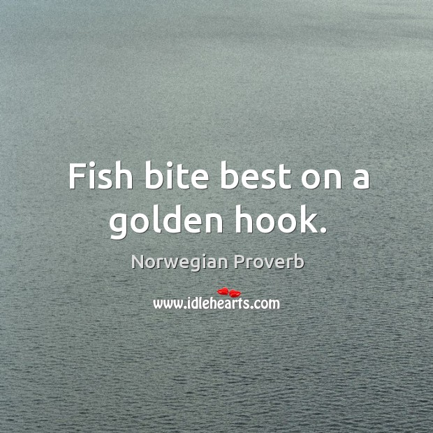 Fish bite best on a golden hook. Norwegian Proverbs Image