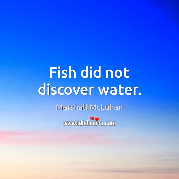 Fish did not discover water. Marshall McLuhan Picture Quote