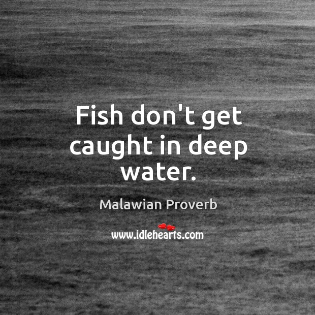 Fish don't get caught in deep water. Malawian Proverbs Image
