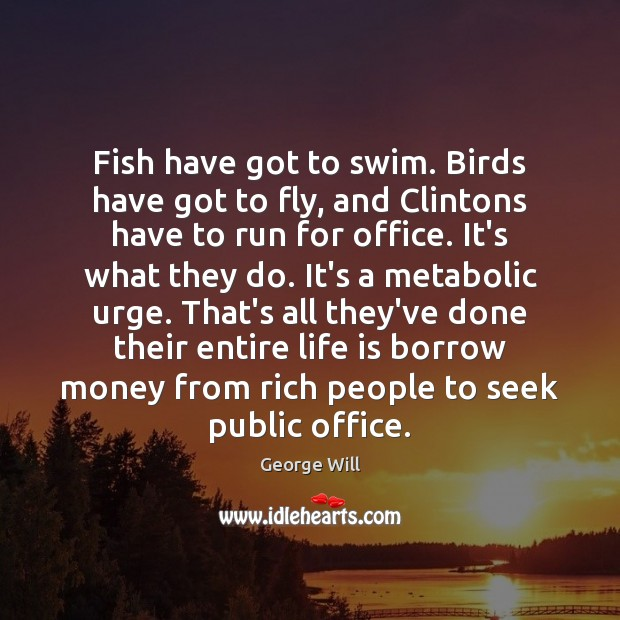 Fish have got to swim. Birds have got to fly, and Clintons Image