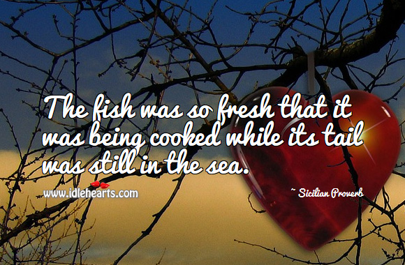 The fish was so fresh that it was being cooked while its tail was still in the sea. Sicilian Proverbs Image